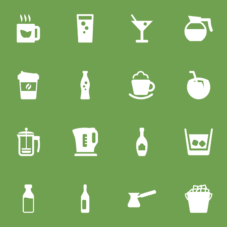 Set Of 16 Beverages Icons Set.Collection Of Fizzy Water, Green Tea, Teapot And Other Elements.