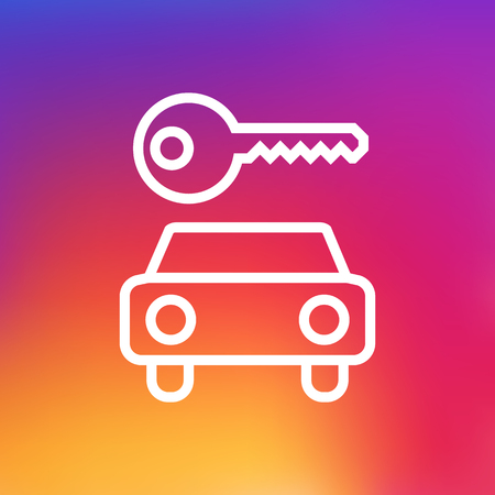 Isolated Automobile Outline Symbol On Clean Background. Vector Car Rent  Element In Trendy Style.