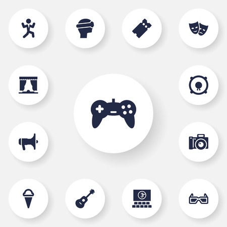 gamepad: Set Of 13 Amusement Icons Set.Collection Of Spectacles, Pass, Curtain And Other Elements.