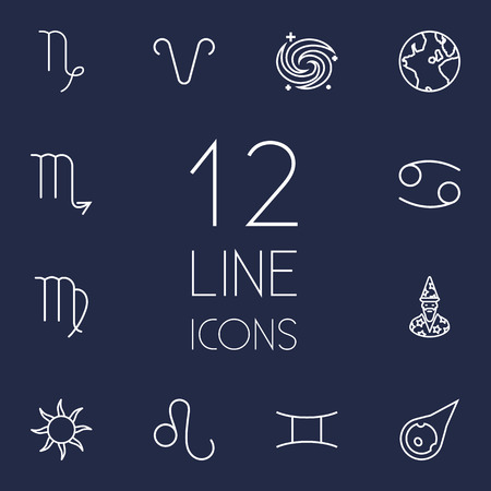astrologer: Set Of 12 Galaxy Outline Icons Set.Collection Of Leo, Virgo, Astrologer And Other Elements.