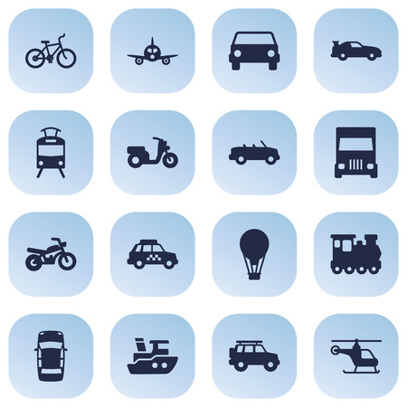 camion: Set Of 16 Traffic Icons Set.Collection Of Scooter, Wagon, Truck And Other Elements.