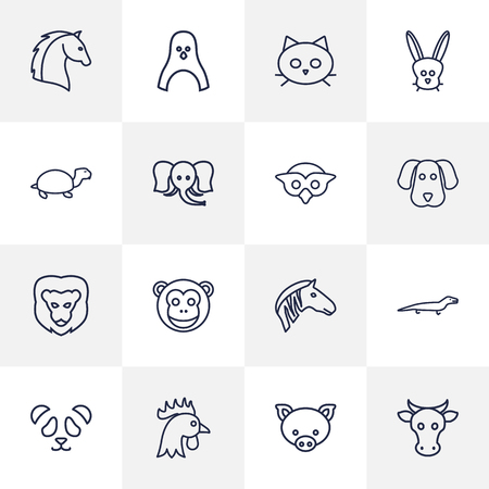 slow food: Set Of 16 Animal Outline Icons Set.Collection Of Cock, Monkey, Dog And Other Elements. Illustration