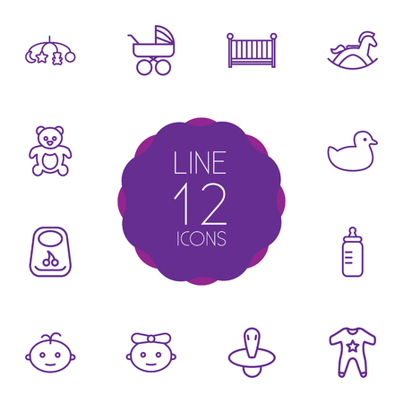 Set Of 12 Baby Outline Icons Set.Collection Of Rubber, Bottle, Crib And Other Elements.