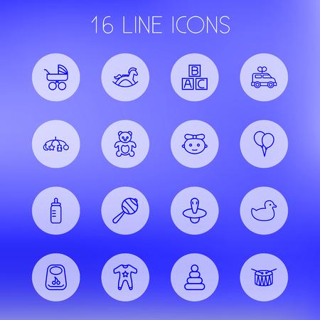 Set Of 16 Kid Outline Icons Set.Collection Of Toys, Rubber, Drum And Other Elements. Ilustração