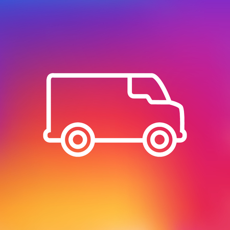 camion: Isolated Caravan Outline Symbol On Clean Background. Vector Van Element In Trendy Style. Illustration