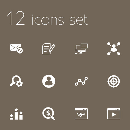 hit tech: Set Of 12 Optimization Icons Set.Collection Of Dartboard, Sale, Columns And Other Elements. Illustration