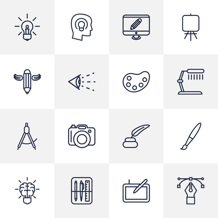 illuminator: Set Of 16 Creative Outline Icons Set.Collection Of Writing, Inkwell With Pen, Easel And Other Elements.