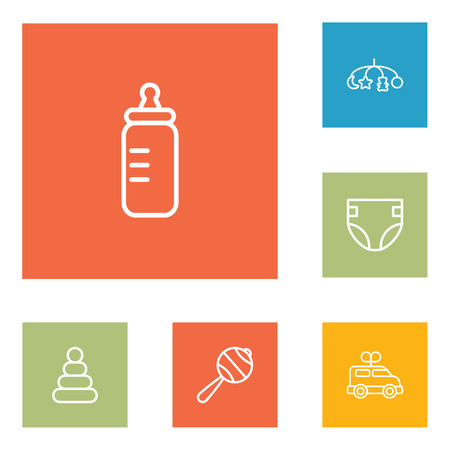 Set Of 6 Child Outline Icons Set.Collection Of Rattles, Diaper, Clockwork Car And Other Elements. Illustration