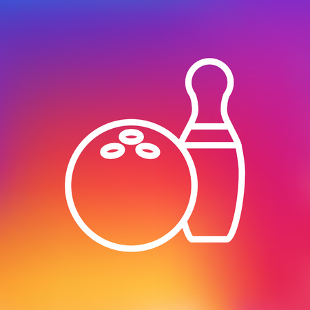 Isolated Kegling Outline Symbol On Clean Background. Vector Bowling Element In Trendy Style. Illustration