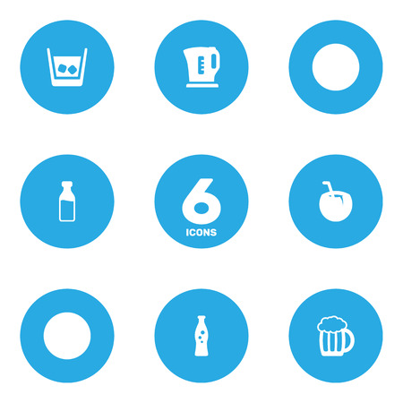 Set Of 6 Drinks Icons Set.Collection Of Fizzy Water, Mug, Cognac And Other Elements.