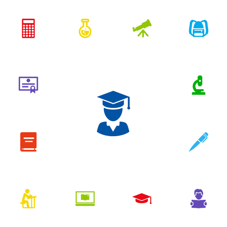 scholar: Set Of 13 Studies Icons Set.Collection Of Ink, Student, Academic Hat And Other Elements. Illustration