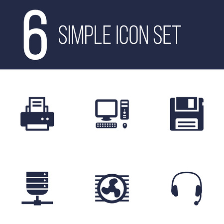 Set Of 6 Laptop Icons Set.Collection Of Peripheral, Datacenter, Fan And Other Elements. Illustration
