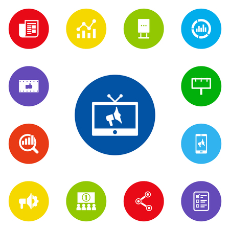 delineation: Set Of 13 Advertising Icons Set.Collection Of Auditorium, Ads, Monitoring And Other Elements.