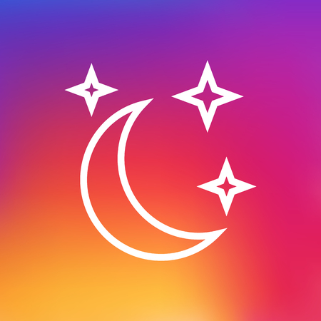 Isolated Midnight Outline Symbol On Clean Background. Vector Moon With Star Element In Trendy Style.
