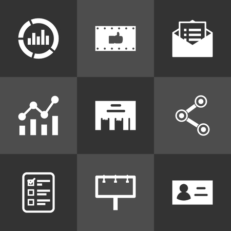 thump: Set Of 9 Commercial Icons Set.Collection Of Statistics, Monitoring, Message And Other Elements. Illustration