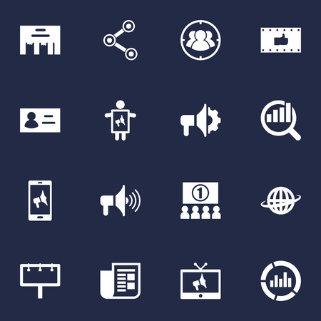 Set Of 16 Commercial Icons Set.Collection Of Placard, Bullhorn, Market And Other Elements.