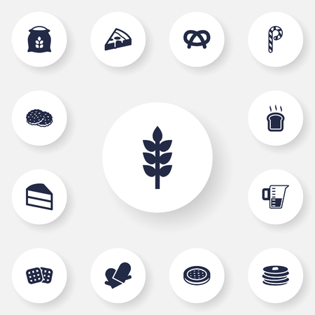 Set Di 13 Set di icone di pasticceria. Raccolta di Crepe, Misurazione, Pane Di Slice e Altri Elementi.