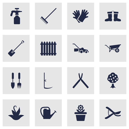 raking: Set Of 16 Household Icons Set.Collection Of Garden, Pruner, Flowerpot And Other Elements. Illustration