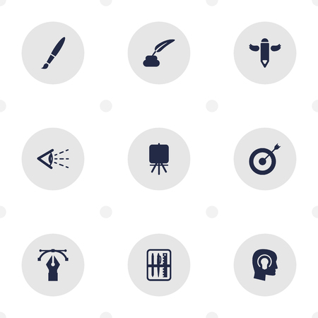 hit tech: Set Of 9 Constructive Icons Set.Collection Of Brush , Pencil , Stand Elements. Illustration