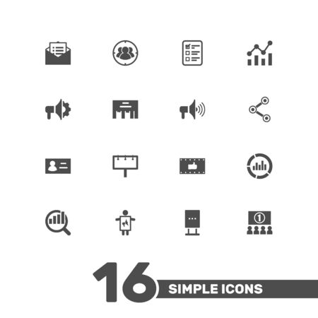 ceo: Set Of 16 Advertising Icons Set.Collection Of Id, Statistics, Like And Other Elements.