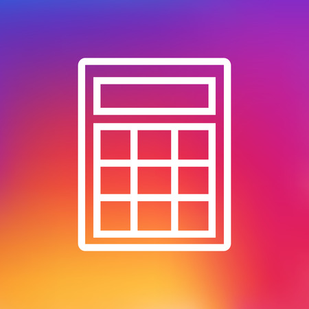 calculating: Isolated Calculate Outline Symbol On Clean Background. Vector Calculator Element In Trendy Style.