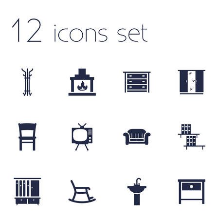 washbowl: Set Of 12 Situation Icons Set.Collection Of Couch, Bookcase, Bedside Table And Other Elements. Illustration