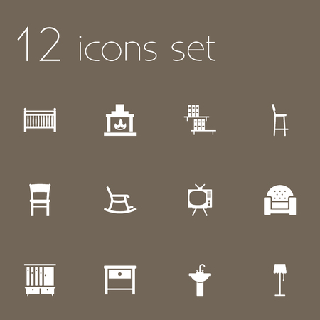 Set Of 12 Decor Icons Set.Collection Of Wardrobe, Illuminator, Chair And Other Elements. Ilustração