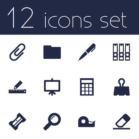 sellotape: Set Of 12 Tools Icons Set.Collection Of Calculate, Ink, Whiteboard And Other Elements. Illustration