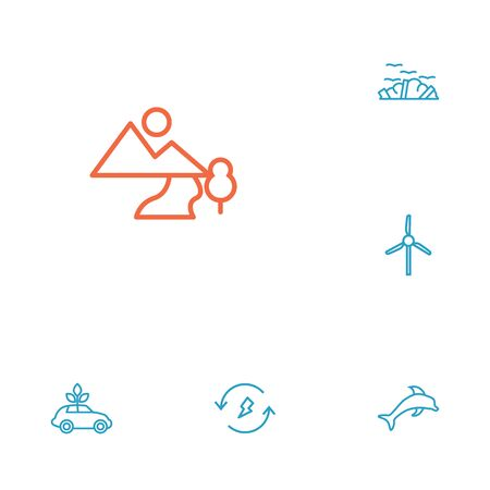 Set Of 6 Ecology Outline Icons Set.Collection Of Landscape, Ecol, Renewable Energy Elements.