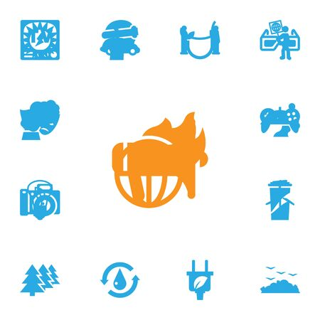 Set Of 13 Ecology Icons Set.Collection Of Reforestation, Car, Rubbish And Other Elements.
