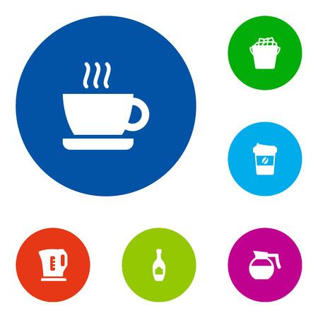 Set di 6 icone di bevande Set.Collection Of Cup, Espresso, Teiera e altri elementi.