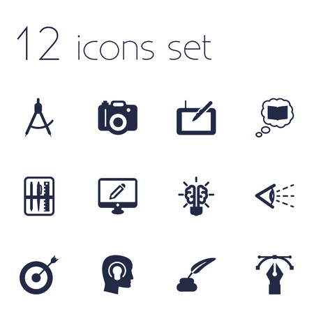 inkstand: Set Of 12 Constructive Icons Set.Collection Of Arrow, Case, Pencil And Other Elements.