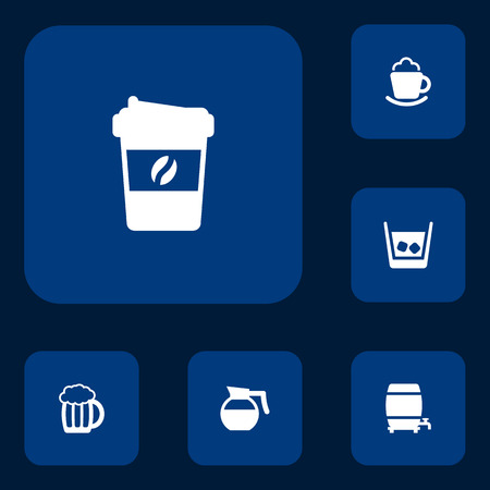 distillery: Set Of 6 Beverages Icons Set.Collection Of Cream, Teapot, Mug And Other Elements.