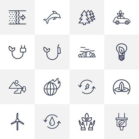 Set Of 16 Ecology Outline Icons Set.Collection Of Afforestation, Plug, Charge And Other Elements.