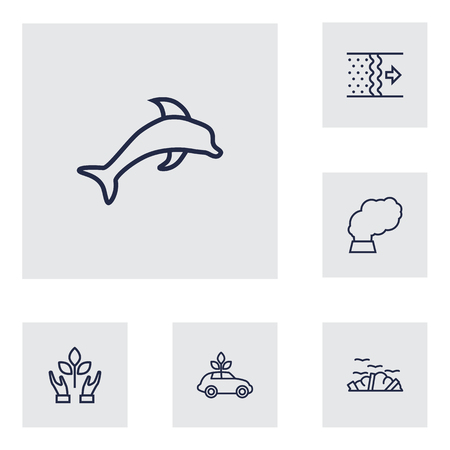 contamination: Set Of 6 Atmosphere Outline Icons Set.Collection Of Air, Dolphin, Ecol And Other Elements. Illustration