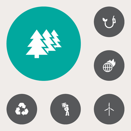 Set Of 6 Ecology Icons Set.Collection Of Volunteer, Warm, Reforestation And Other Elements. Illusztráció