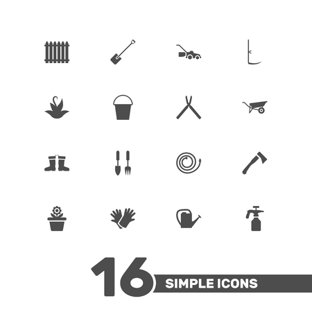 horticultural: Set Of 16 Farm Icons Set.Collection Of Scissors, Fence, Rubber Boots And Other Elements. Illustration