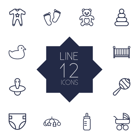 Set Of 12 Baby Outline Icons Set.Collection Of Smock, Toys, Nipple And Other Elements.