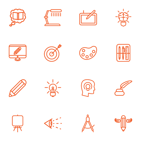 inkstand: Set Of 16 Constructive Outline Icons Set.Collection Of Drawing Tools, Idea, Target And Other Elements.