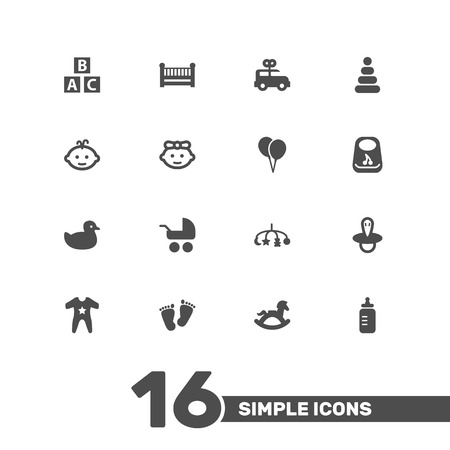 Set Of 16 Baby Icons Set.Collection Of Milk, Decoration, Teat And Other Elements. Illustration