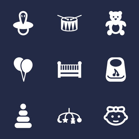 Set Of 9 Baby Icons Set.Collection Of Toy, Cot, Hangings And Other Elements.