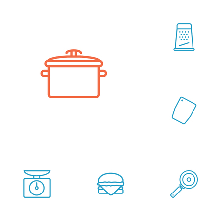 Set Of 6 Kitchen Outline Icons Set.Collection Of Skillet, Pan, Scales And Other Elements.