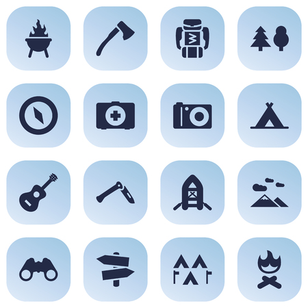 Set Of 16 Adventure Icons Set.Collection Of Camp, Jackknife, Photo Camera And Other Elements.