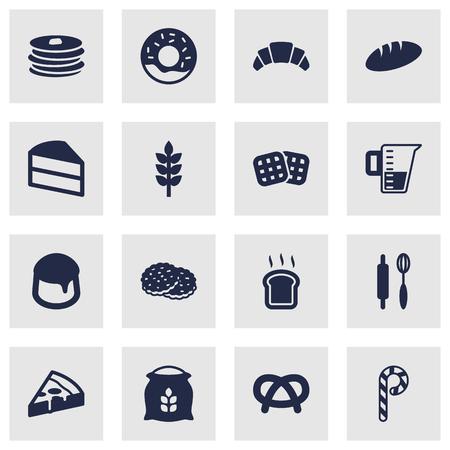 Set di 16 set di icone da forno. Collezione di Lollipop, Dessert, Peperoni e Altri Elementi a Strisce.