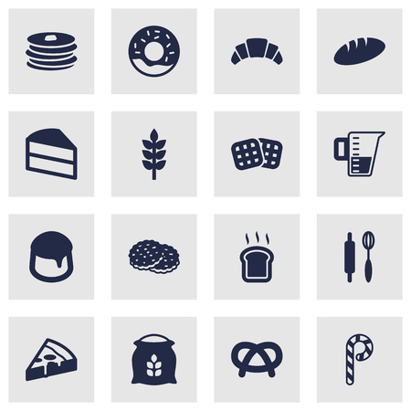 Set Of 16 Bakery Icons Set.Collection Of Striped Lollipop, Dessert, Pepperoni And Other Elements.