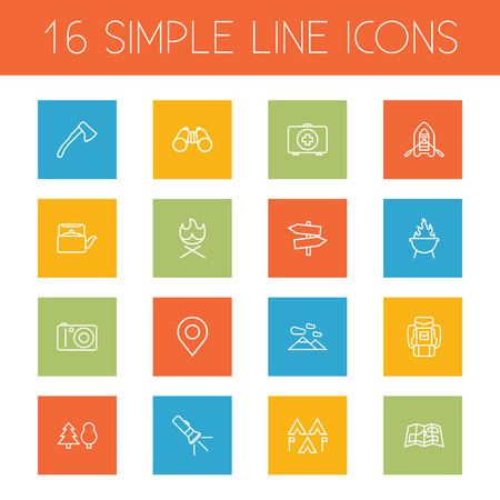 haversack: Set Of 16 Outdoor Outline Icons Set.Collection Of Medical Kit, Pocket Torch, Gps And Other Elements. Illustration