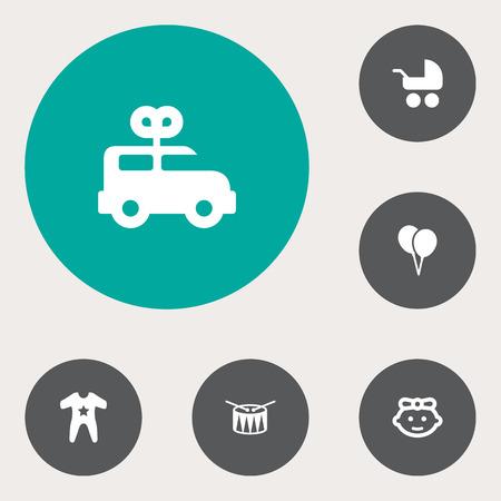 Set von 6 Kind Icons Set.Collection Of Fass, Kittel, Kinderwagen und andere Elemente. Standard-Bild - 81875256