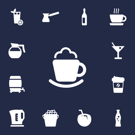 Set Of 13 Drinks Icons Set.Collection Of Cocktail, Cup, Espresso And Other Elements. Illustration
