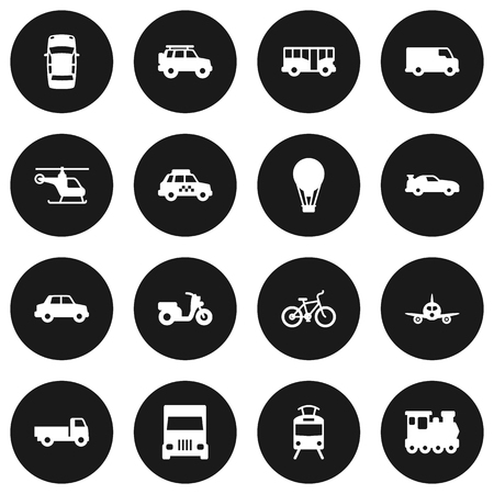 tramcar: Set Of 16 Transport Icons Set.Collection Of Scooter, Wagon, Autobus And Other Elements.