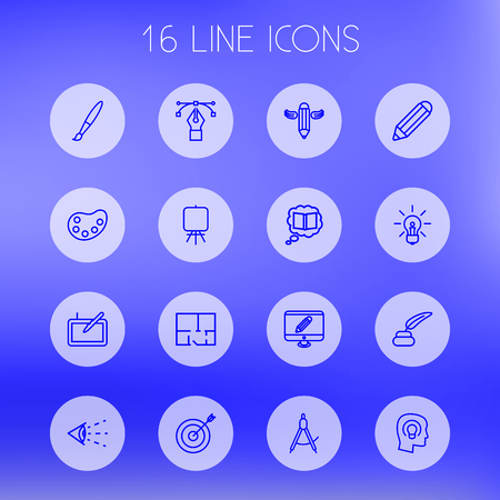 inkstand: Set Of 16 Creative Outline Icons Set.Collection Of Knowledge, Writing, Graphic Tablet And Other Elements.